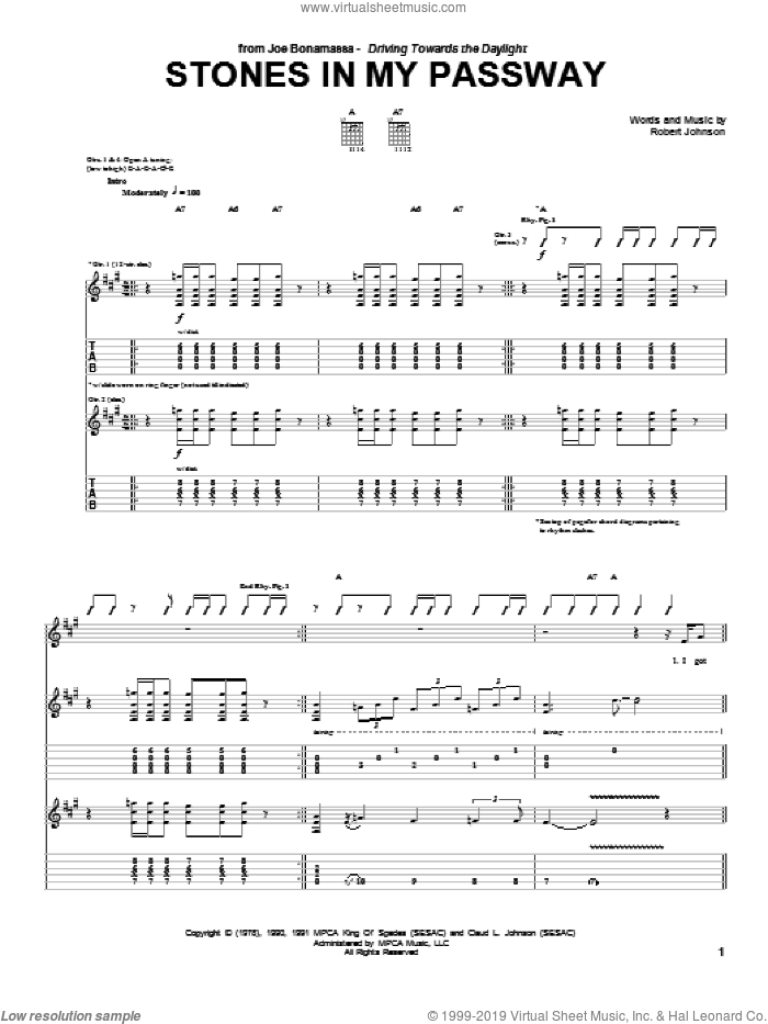 Stones In My Passway sheet music for guitar (tablature) by Joe Bonamassa and Robert Johnson, intermediate