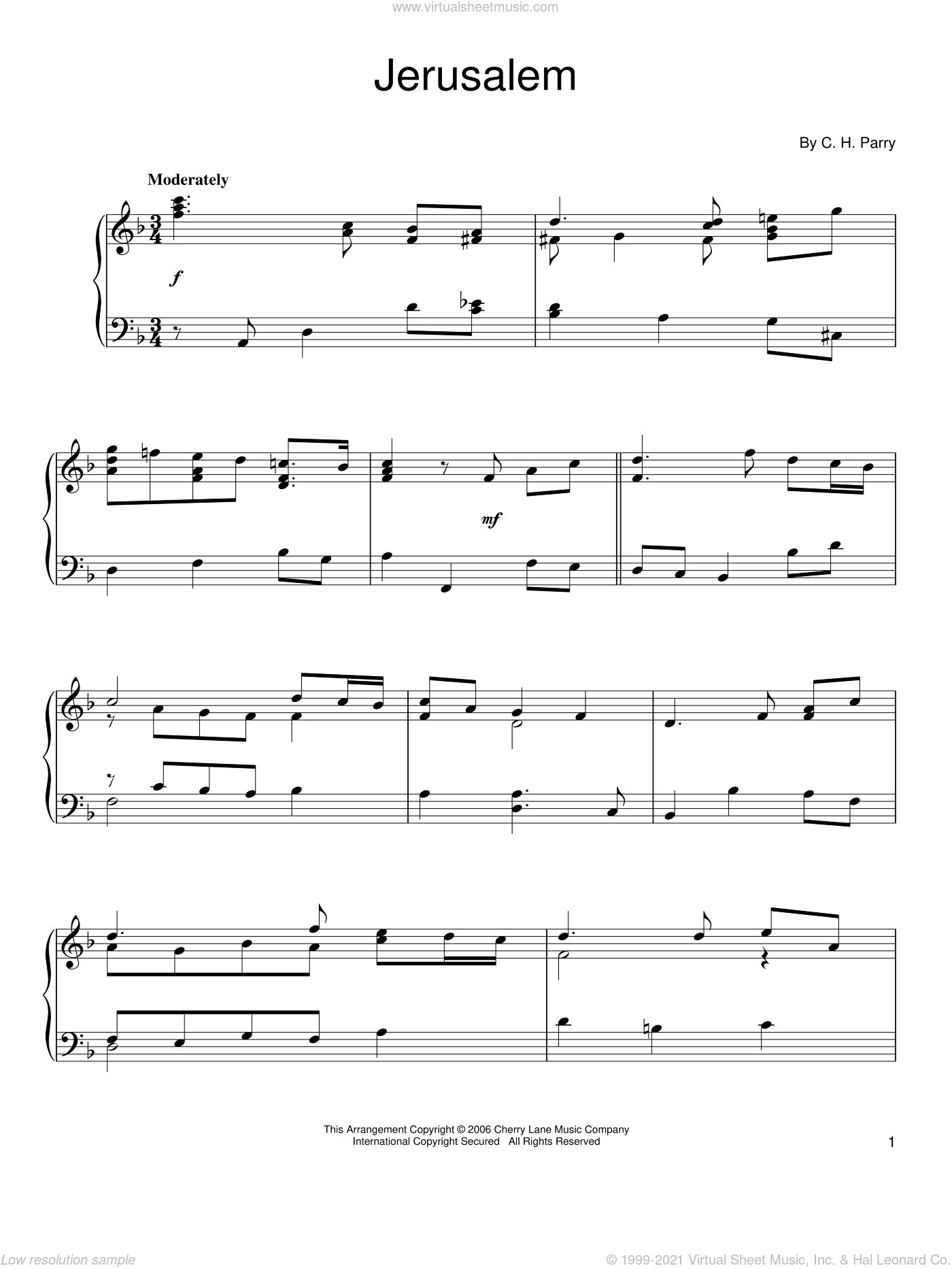 Jerusalem sheet music for piano solo by C.H. Parry, intermediate skill level