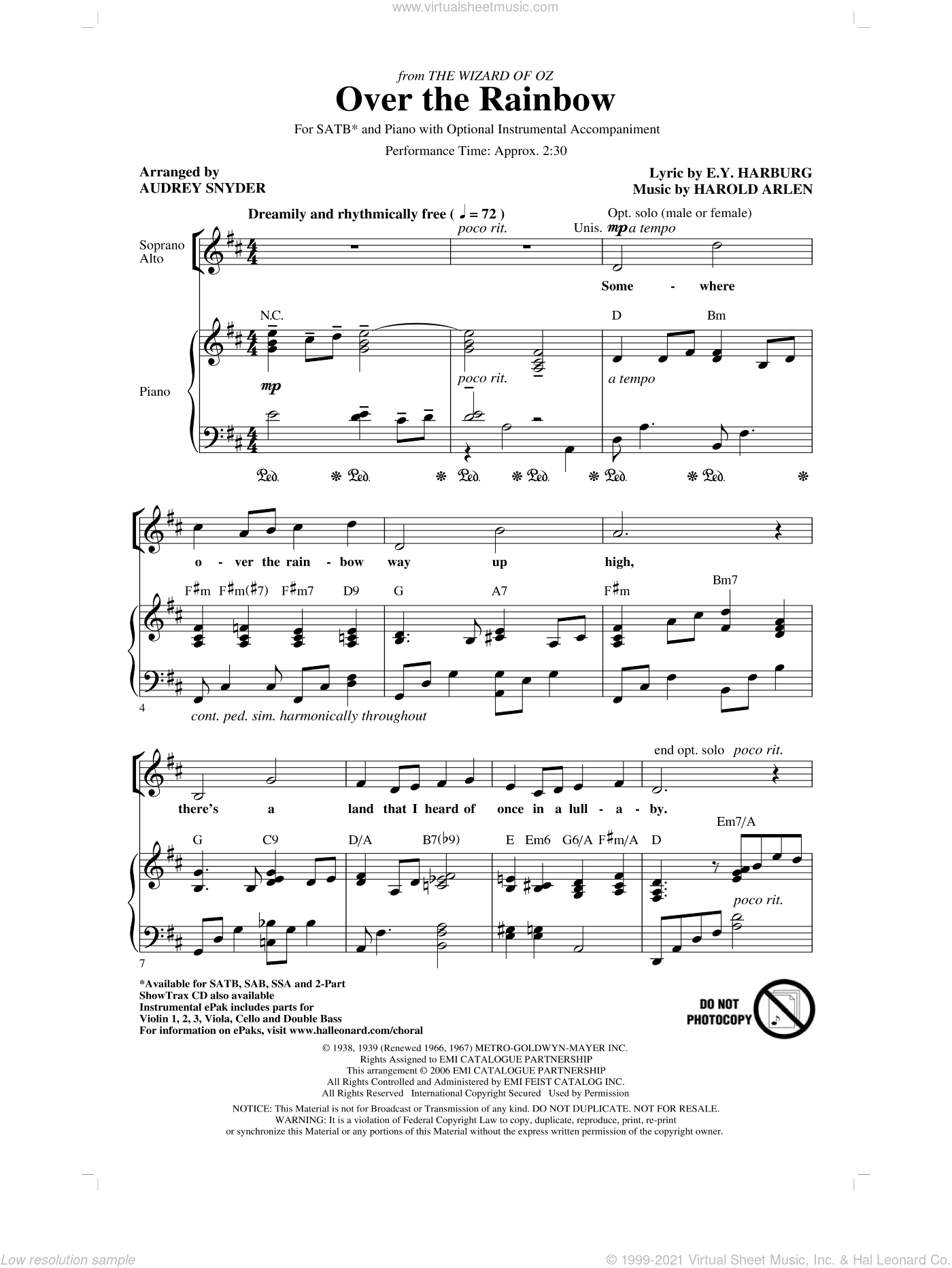 Over The Rainbow sheet music for choir (SATB: soprano, alto, tenor, bass) by Harold Arlen, E.Y. Harburg and Audrey Snyder, intermediate skill level
