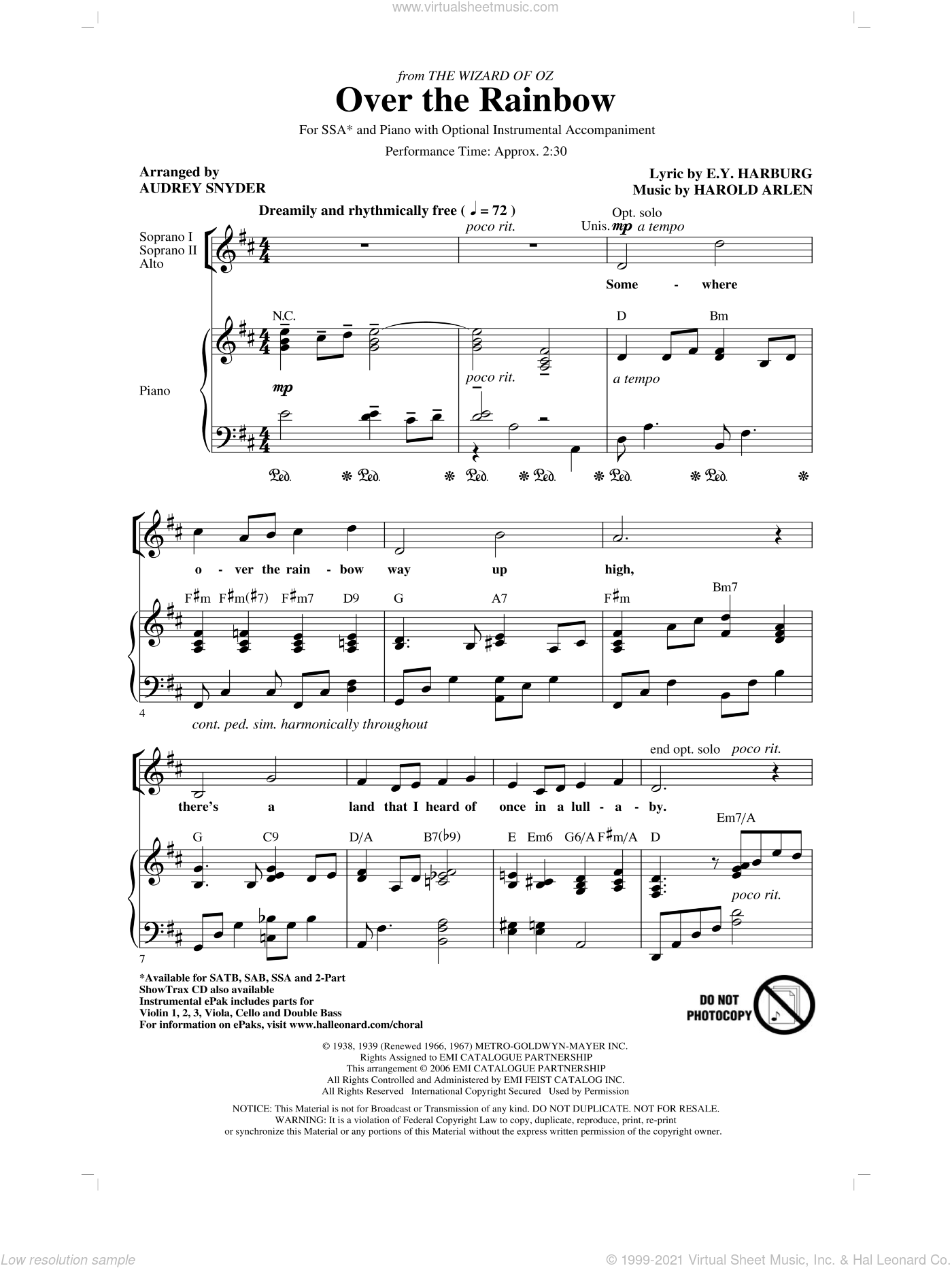 Over The Rainbow sheet music for choir (SSA: soprano, alto) by Harold Arlen, E.Y. Harburg and Audrey Snyder, intermediate skill level