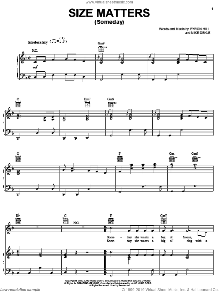 Size Matters (Someday) sheet music for voice, piano or guitar by Joe Nichols, Byron Hill and Mike Dekle, intermediate skill level