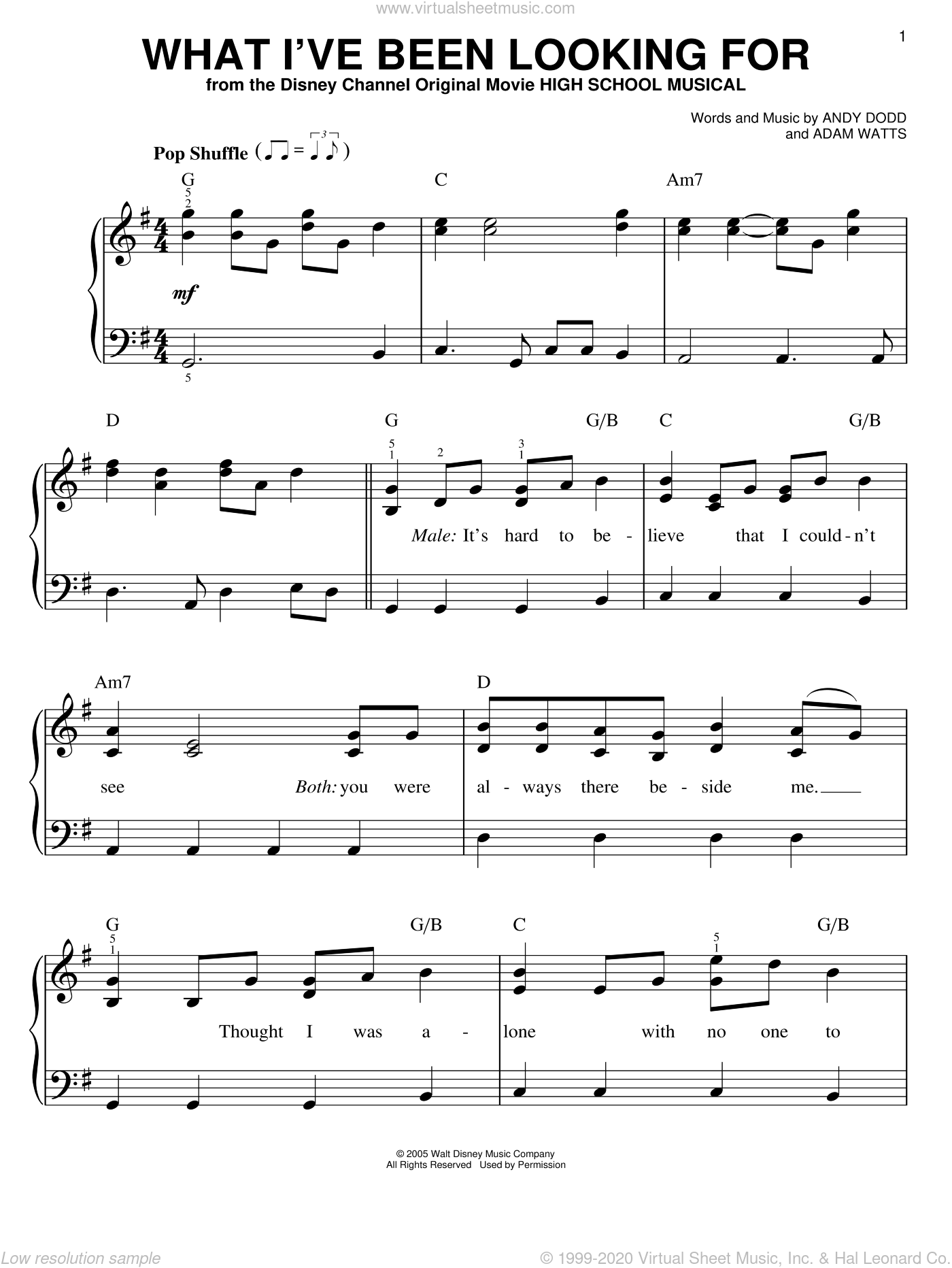 What I've Been Looking For sheet music for piano solo by High School Musical, Adam Watts and Andy Dodd, easy. Score Image Preview.