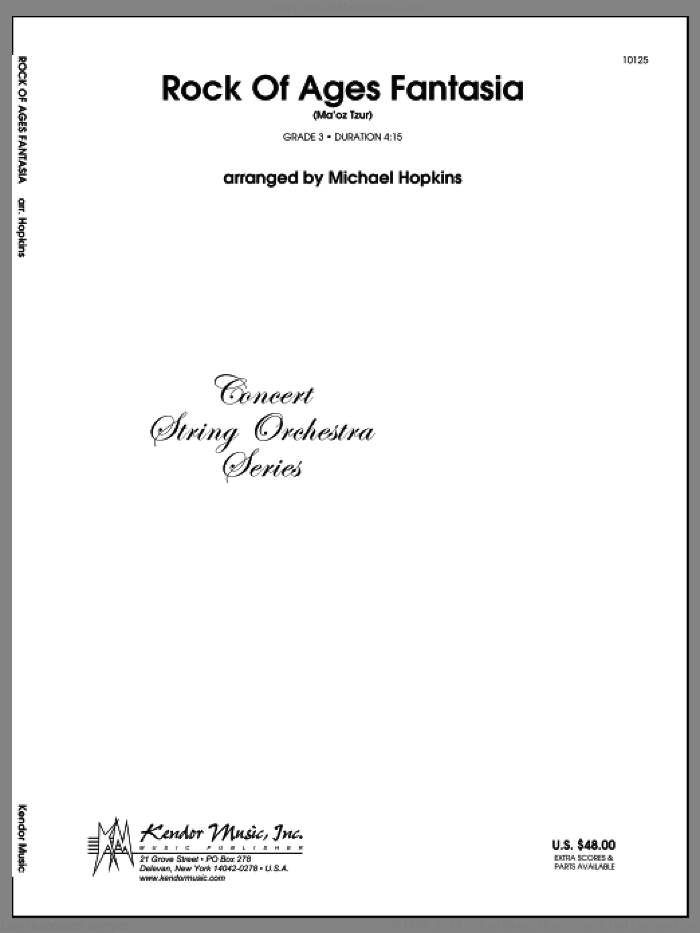 Rock Of Ages Fantasia (Ma'oz Tzur) (COMPLETE) sheet music for orchestra by Michael Hopkins, classical score, intermediate skill level