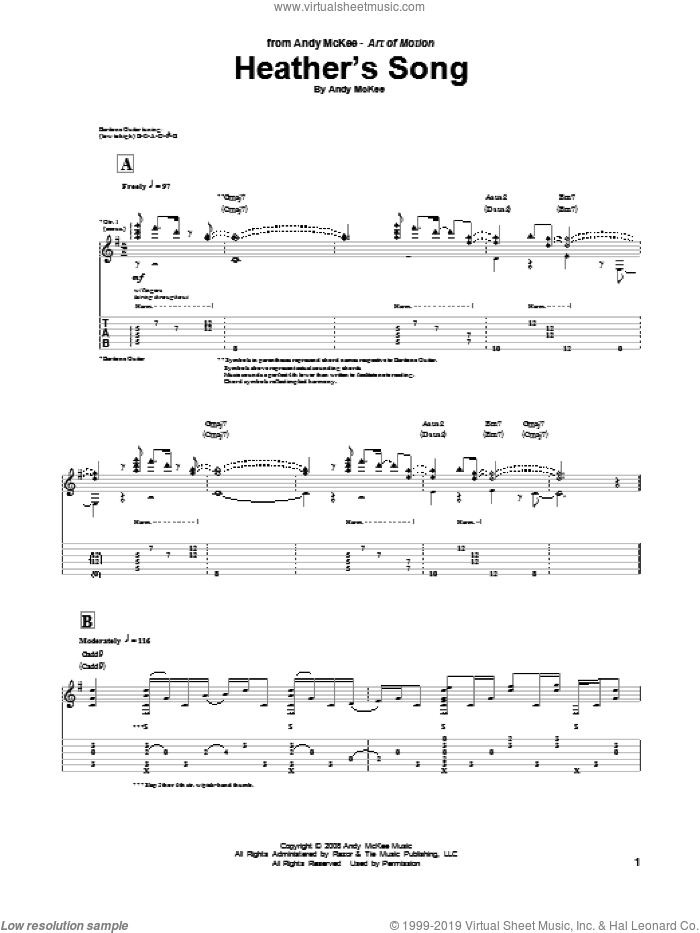 Heather's Song sheet music for guitar (tablature) by Andy McKee. Score Image Preview.