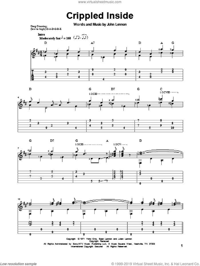 Crippled Inside sheet music for guitar solo by John Lennon and The Beatles. Score Image Preview.