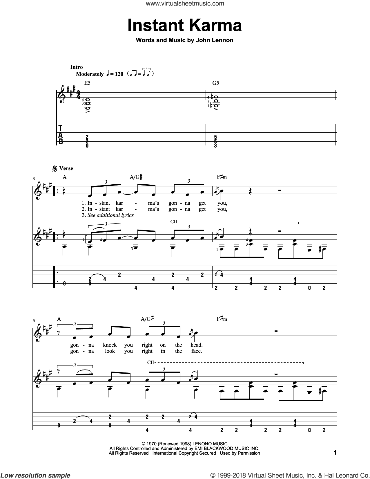 Instant Karma sheet music for guitar solo by John Lennon and The Beatles, classical score, intermediate. Score Image Preview.