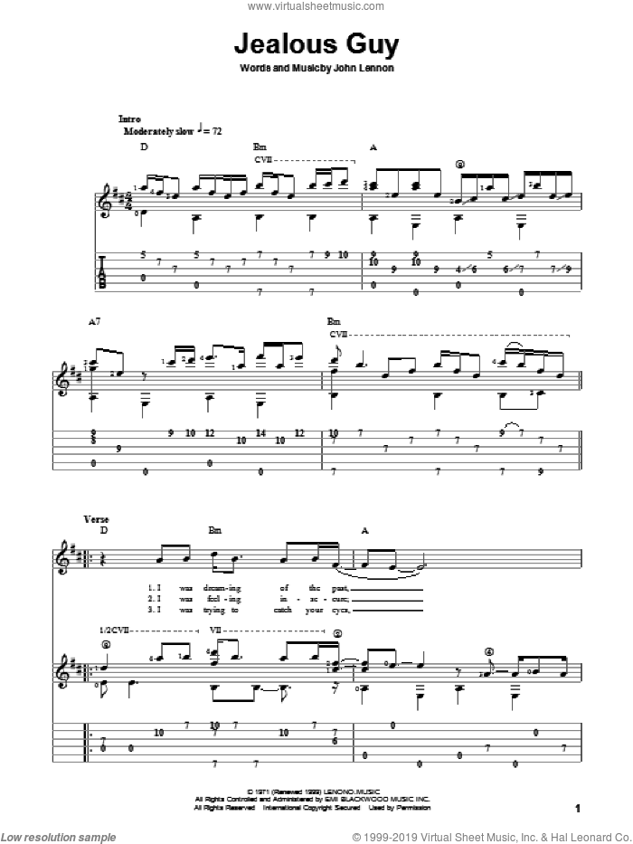 Jealous Guy sheet music for guitar solo by John Lennon and The Beatles. Score Image Preview.