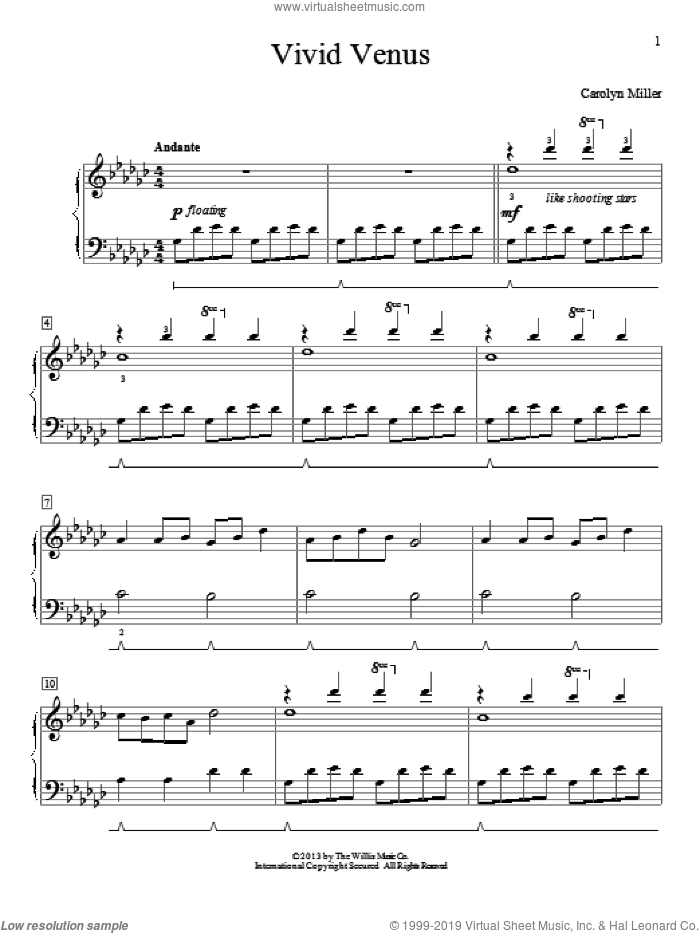Vivid Venus sheet music for piano solo (elementary) by Carolyn Miller. Score Image Preview.