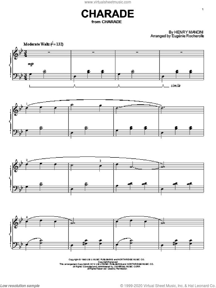 Charade sheet music for piano solo by Henry Mancini