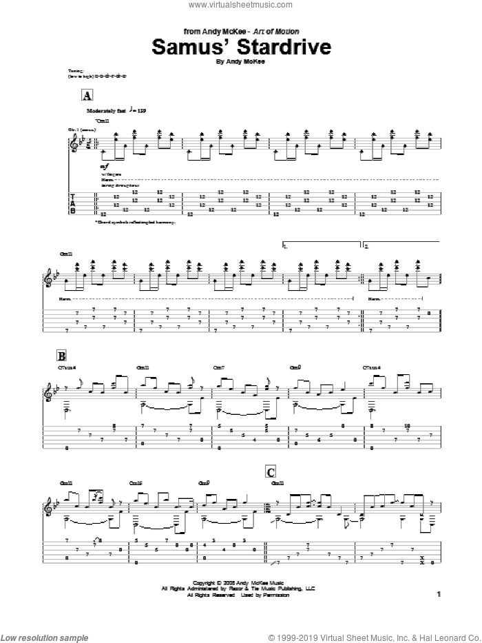 Samus' Stardrive sheet music for guitar (tablature) by Andy McKee. Score Image Preview.