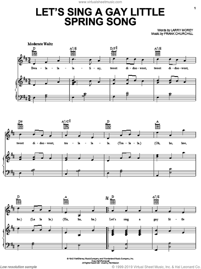 Let's Sing A Gay Little Spring Song sheet music for voice, piano or guitar by Larry Morey, Bambi II (Movie) and Frank Churchill, intermediate skill level