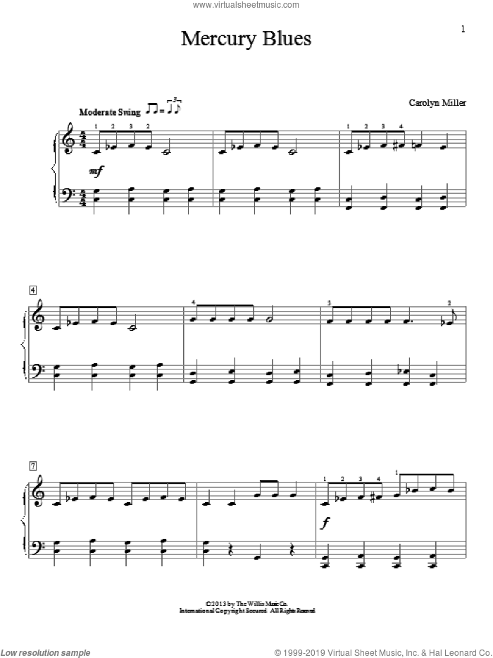 Mercury Blues sheet music for piano solo (elementary) by Carolyn Miller, beginner piano (elementary)