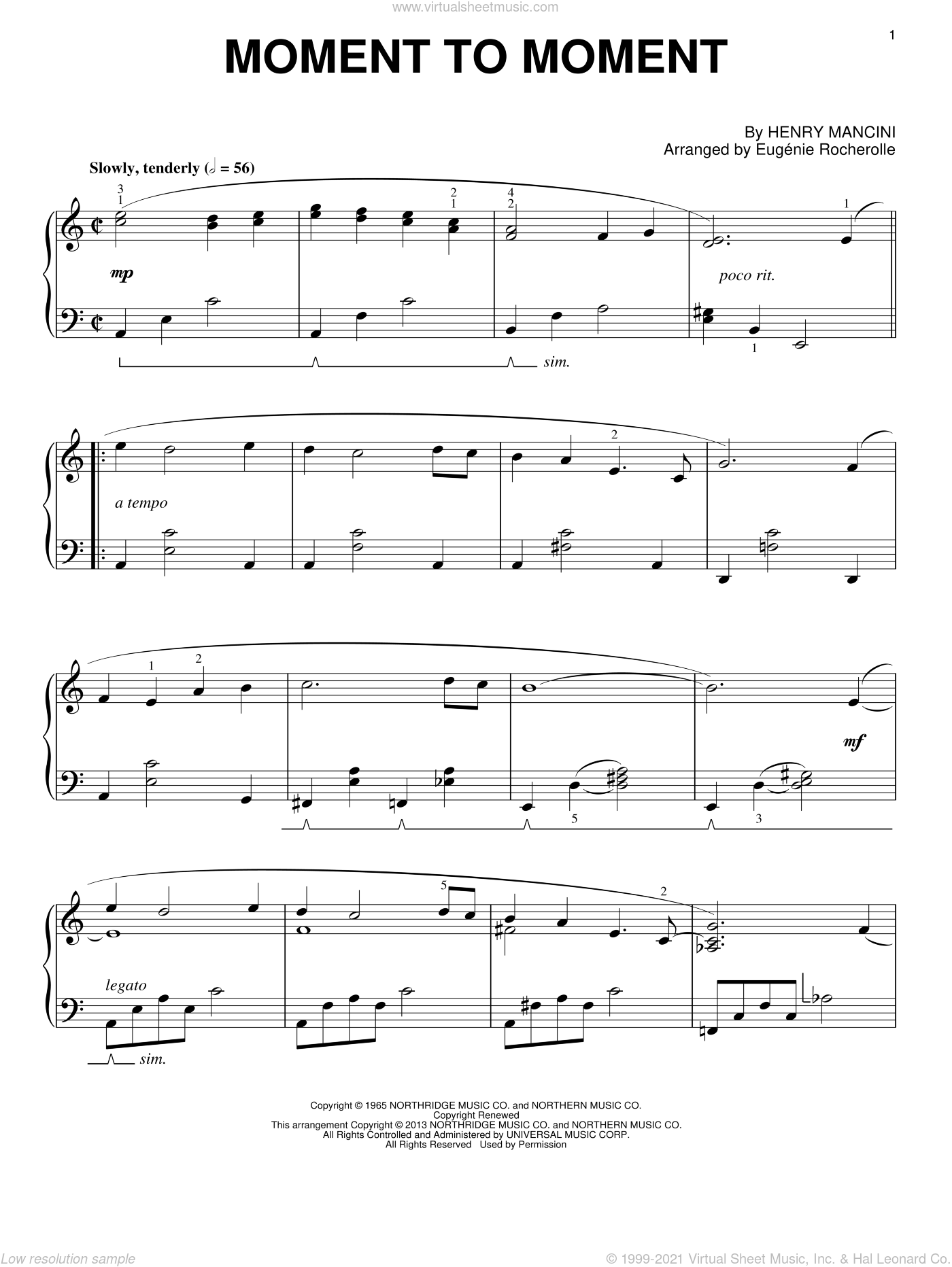 Moment To Moment sheet music for piano solo by Henry Mancini, intermediate skill level
