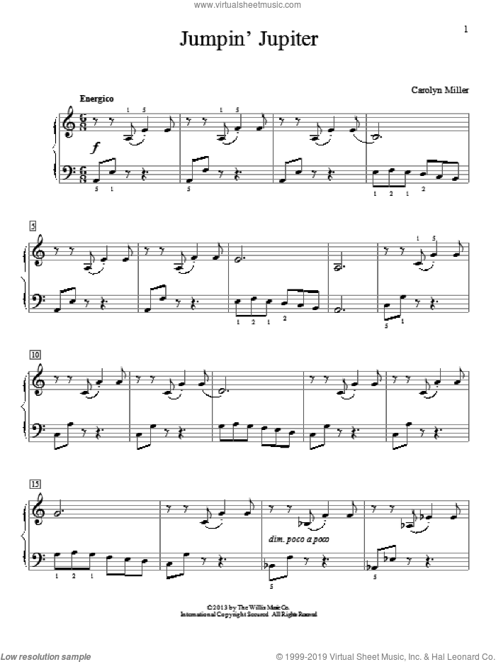 Jumpin' Jupiter sheet music for piano solo (elementary) by Carolyn Miller. Score Image Preview.