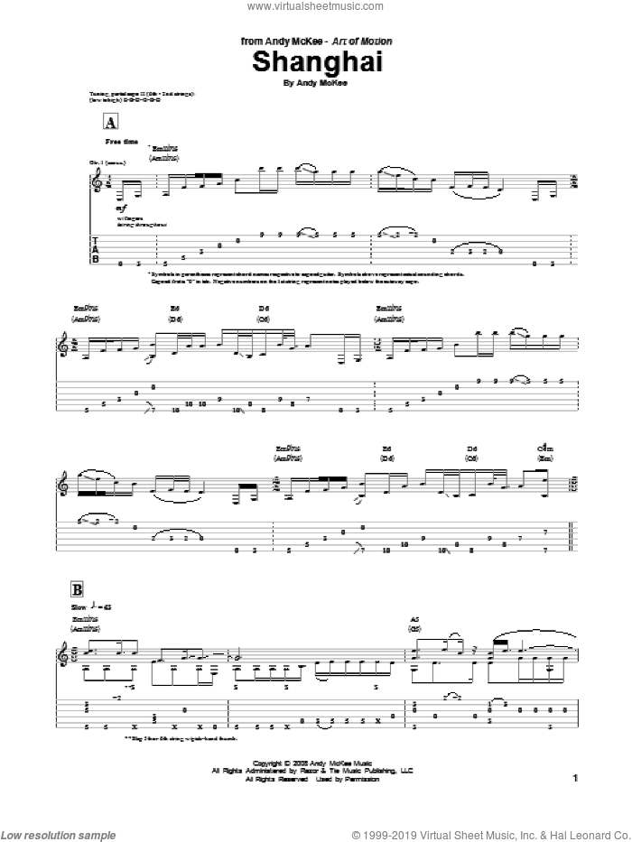 Shanghai sheet music for guitar (tablature) by Andy McKee. Score Image Preview.
