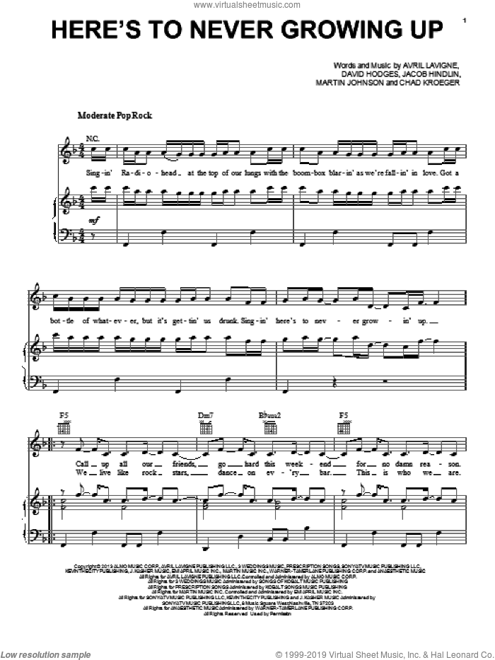 Here's To Never Growing Up sheet music for voice, piano or guitar by Avril Lavigne, intermediate voice, piano or guitar. Score Image Preview.