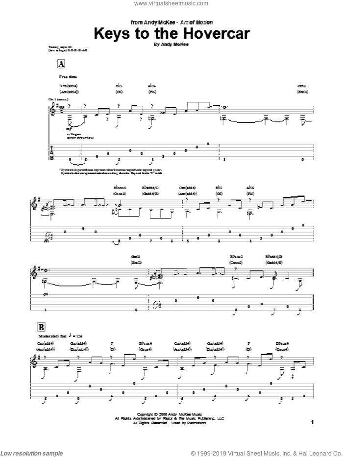 Keys To The Hovercar sheet music for guitar (tablature) by Andy McKee, intermediate skill level