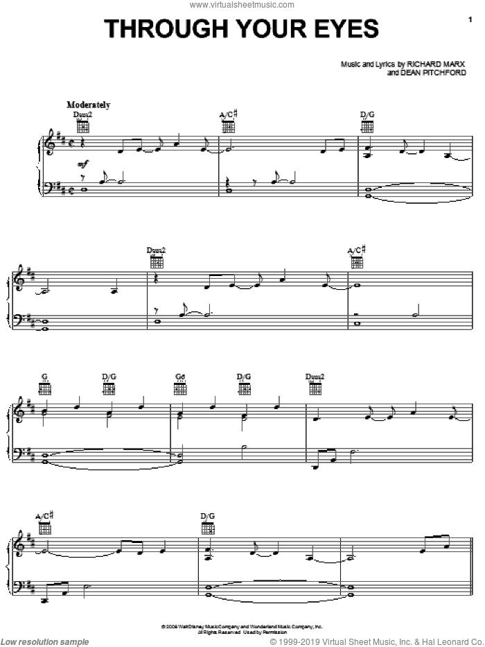 Through Your Eyes sheet music for voice, piano or guitar by Dean Pitchford