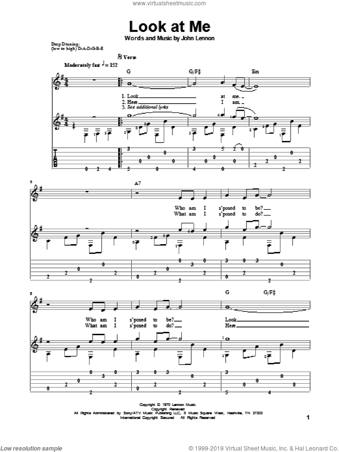 Look At Me sheet music for guitar solo by John Lennon and The Beatles, classical score, intermediate