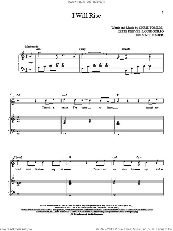 I Will Rise sheet music for voice and piano (High ) by Chris Tomlin, intermediate. Score Image Preview.