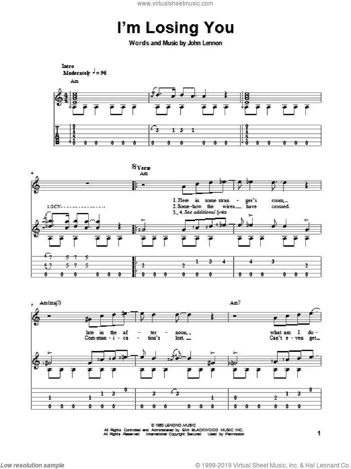 I'm Losing You sheet music for guitar solo by John Lennon and The Beatles, classical score, intermediate guitar. Score Image Preview.