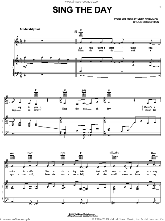 Sing The Day sheet music for voice, piano or guitar by Seth Friedman and Bruce Broughton. Score Image Preview.