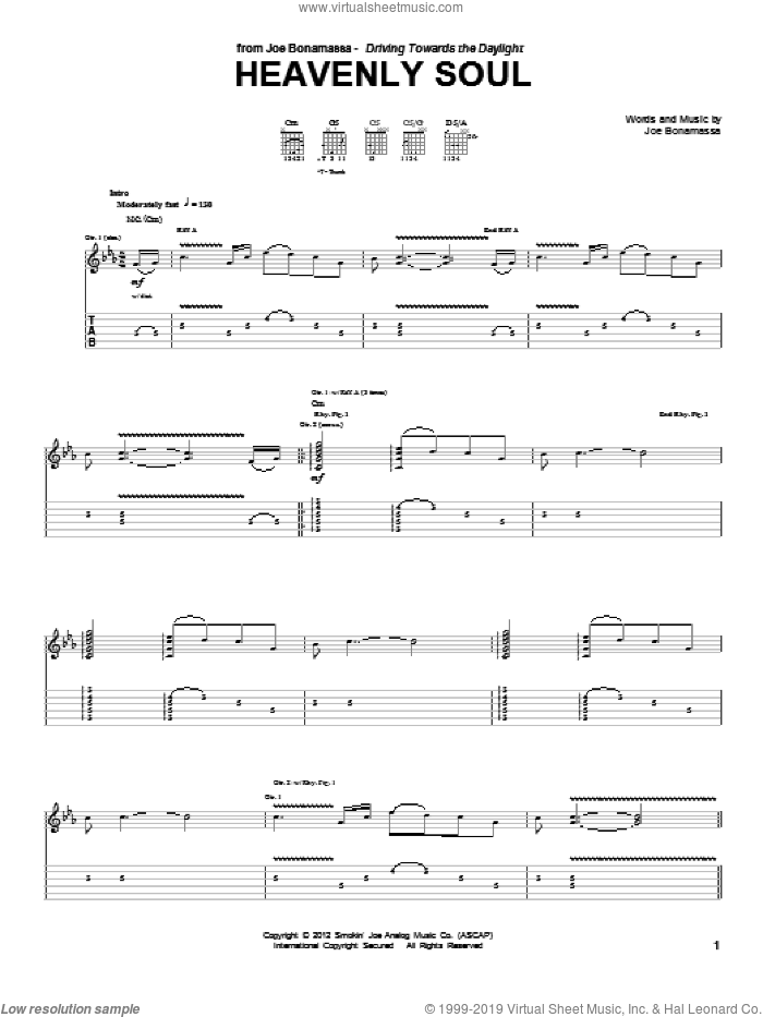 Heavenly Soul sheet music for guitar (tablature) by Joe Bonamassa. Score Image Preview.