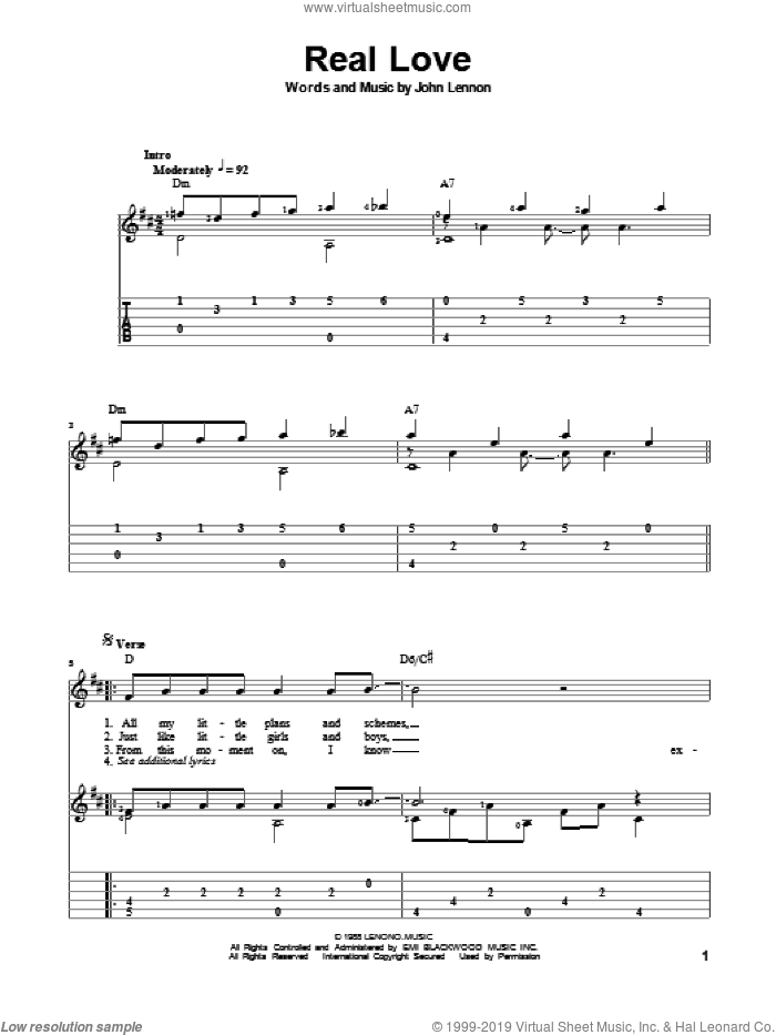 Real Love sheet music for guitar solo by John Lennon and The Beatles, classical score, intermediate