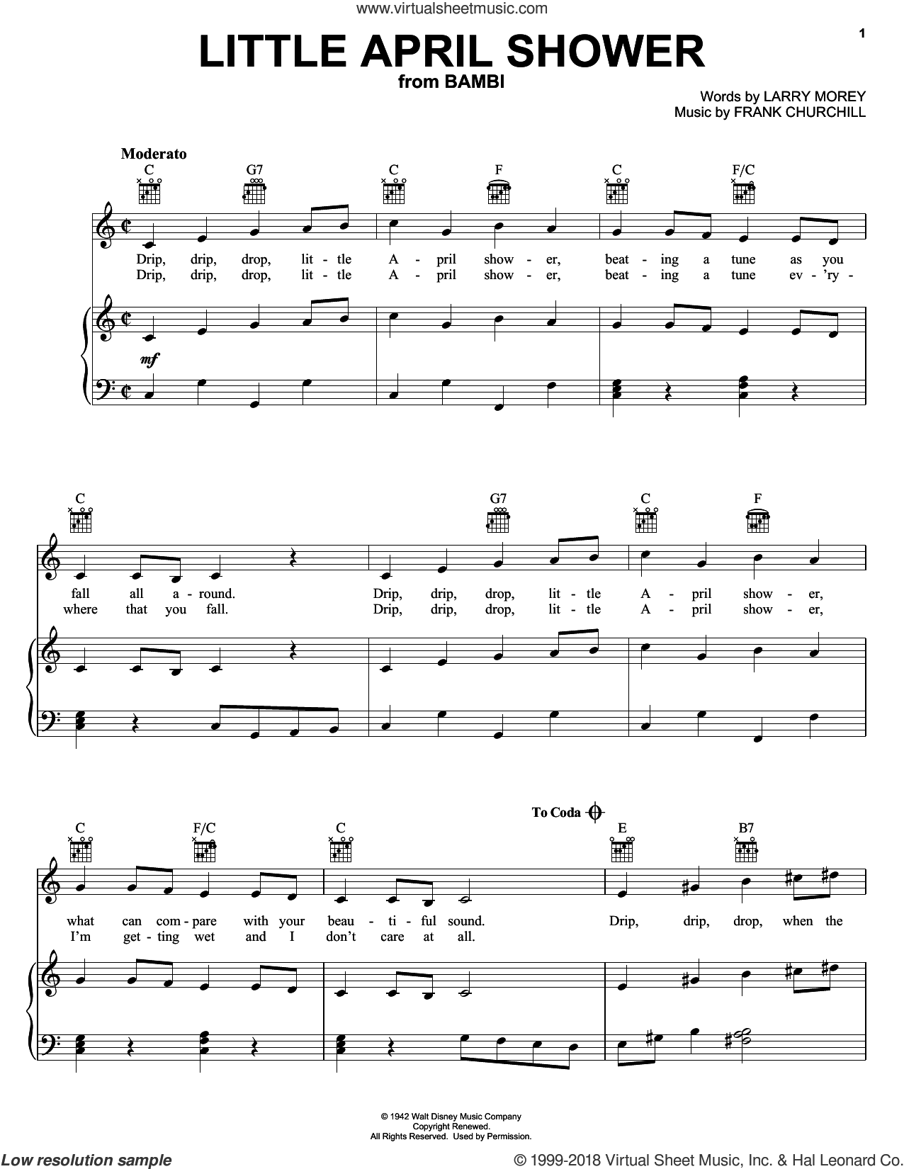 Little April Shower sheet music for voice, piano or guitar by Frank Churchill, Bambi II (Movie) and Larry Morey, intermediate skill level