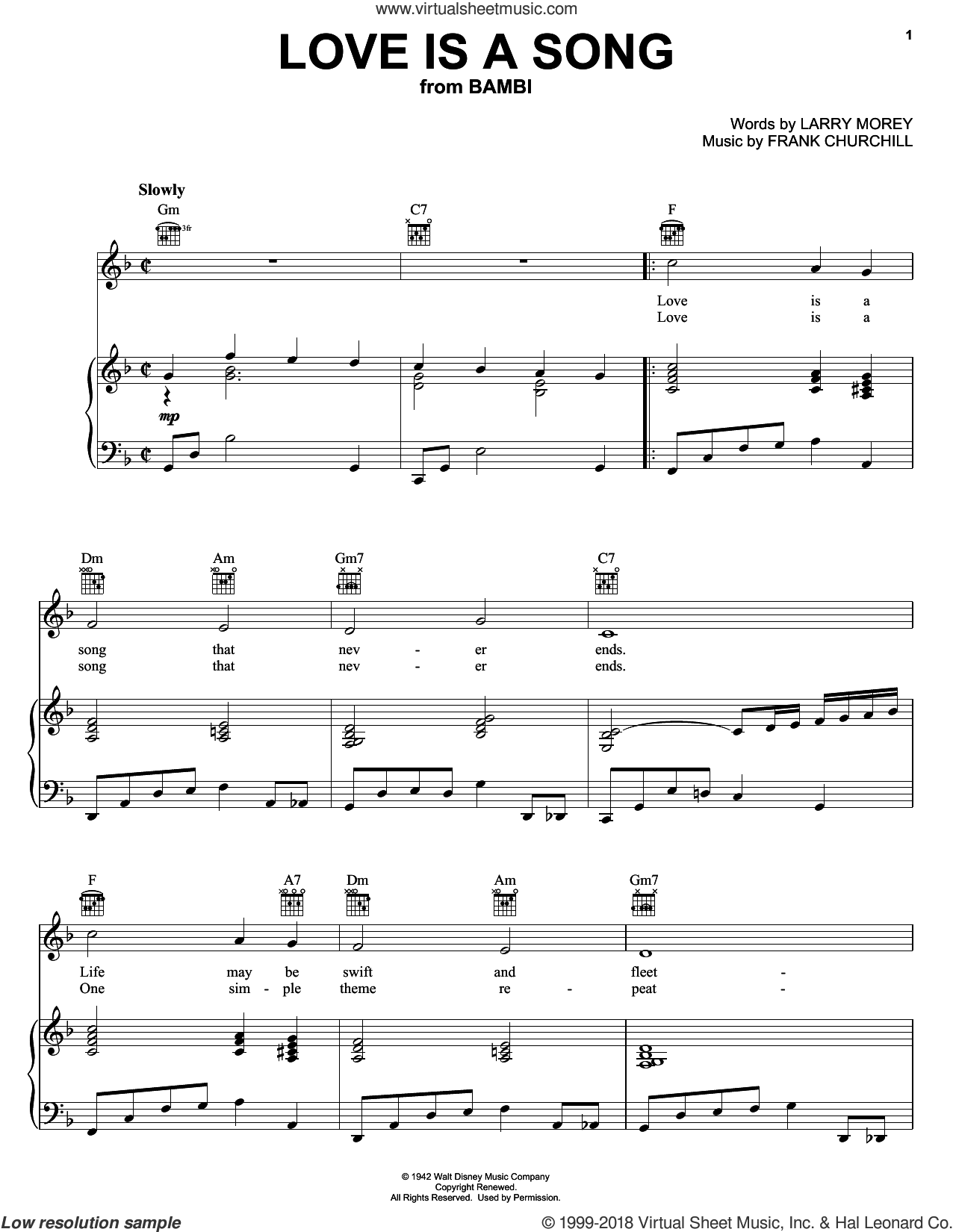 Love Is A Song sheet music for voice, piano or guitar by Frank Churchill