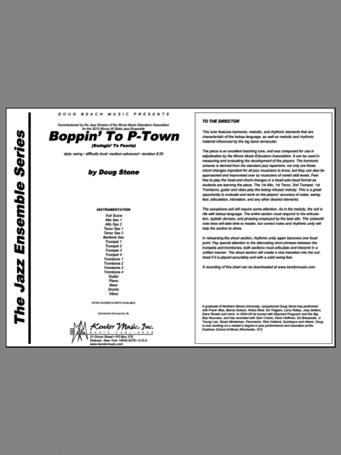 Boppin' To P-Town (Swingin' To Peoria) (COMPLETE) sheet music for jazz band by Stone, intermediate skill level