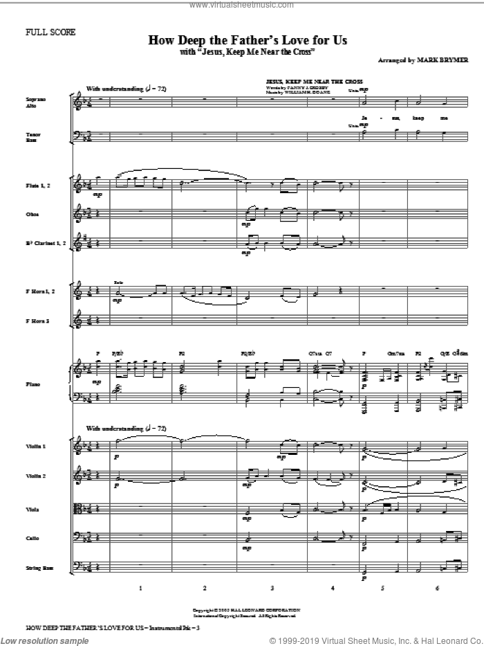 How Deep The Father's Love For Us (with Jesus Keep Me Near The Cross) sheet music for orchestra/band (Orchestra) by Mark Brymer