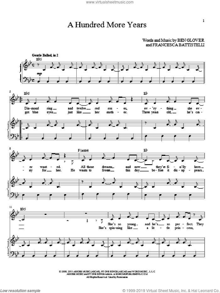 A Hundred More Years sheet music for voice and piano (High Voice) by Ben Glover, wedding score, intermediate skill level