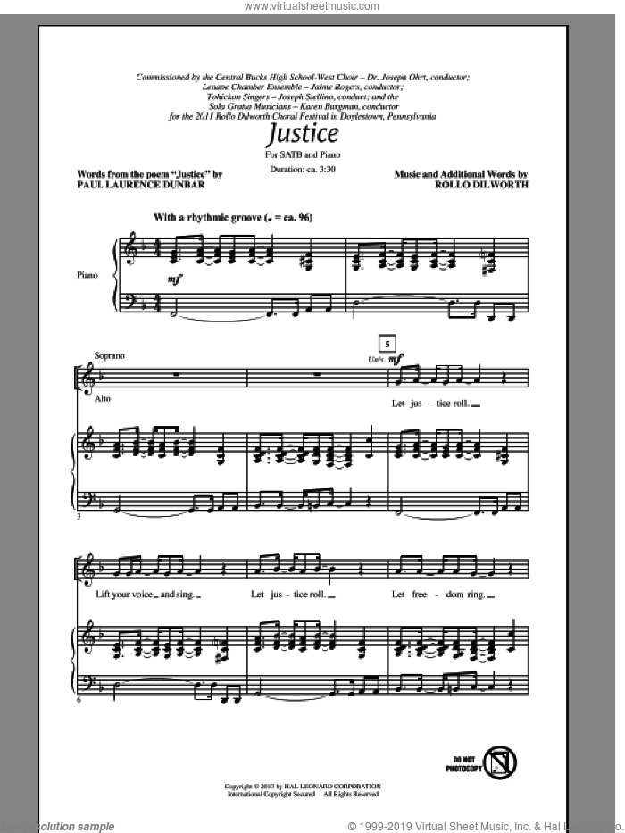 Justice sheet music for choir and piano (SATB) by Rollo Dilworth