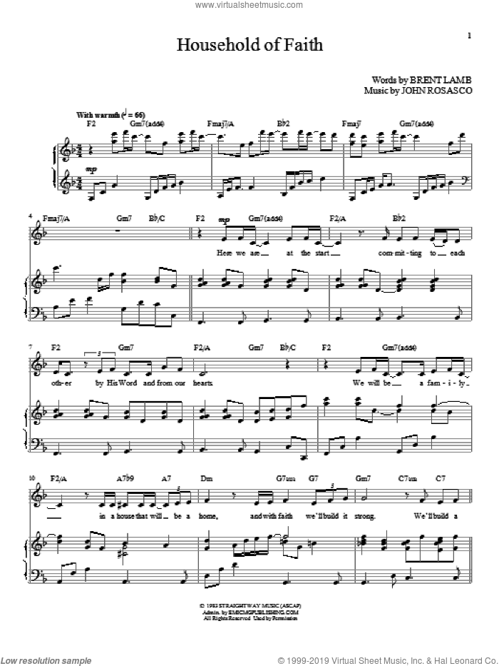 Household Of Faith sheet music for voice and piano (High Voice) by John Rosasco and Brent Lamb, wedding score, intermediate skill level