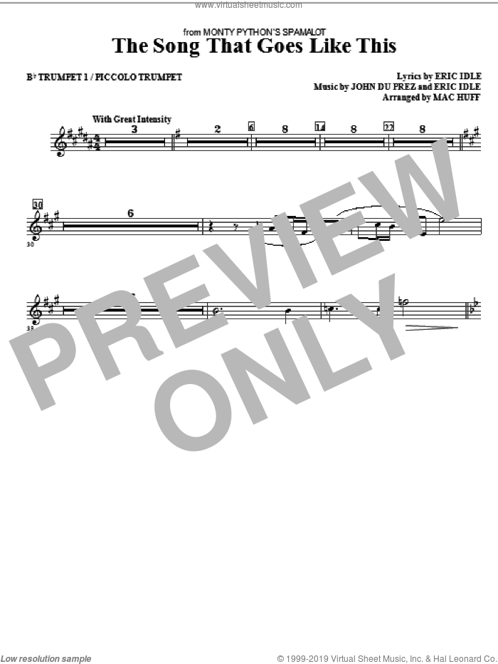 The Song That Goes like This sheet music for orchestra/band (Bb trumpet 1/picollo trumpet) by Mac Huff, Eric Idle and John Du Prez, intermediate skill level