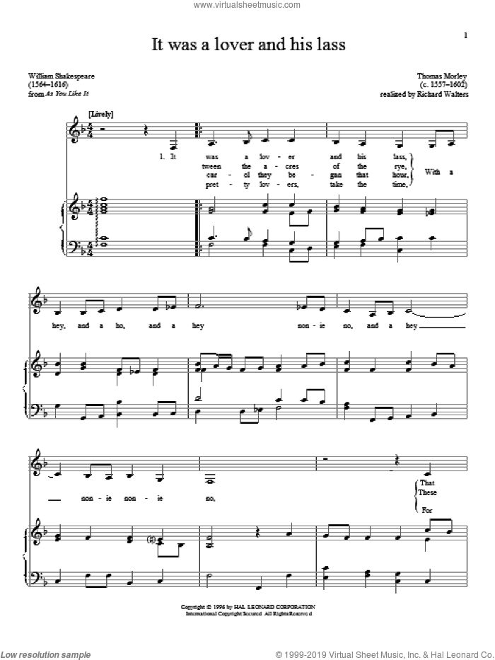 It Was A Lover And His Lass sheet music for voice and piano by William Shakespeare and Thomas Morley, classical score, intermediate