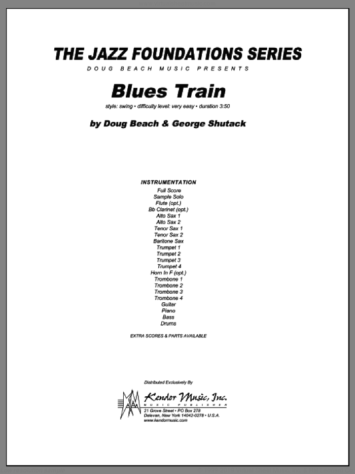 Blues Train (COMPLETE) sheet music for jazz band by Beach, Shutack, intermediate jazz band. Score Image Preview.