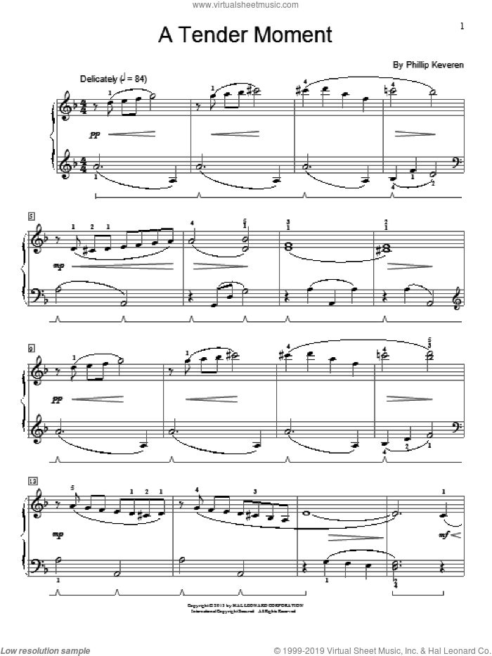 A Tender Moment sheet music for piano solo (elementary) by Phillip Keveren, beginner piano (elementary)