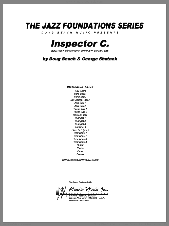 Inspector C. (COMPLETE) sheet music for jazz band by Beach, Shutack, intermediate skill level