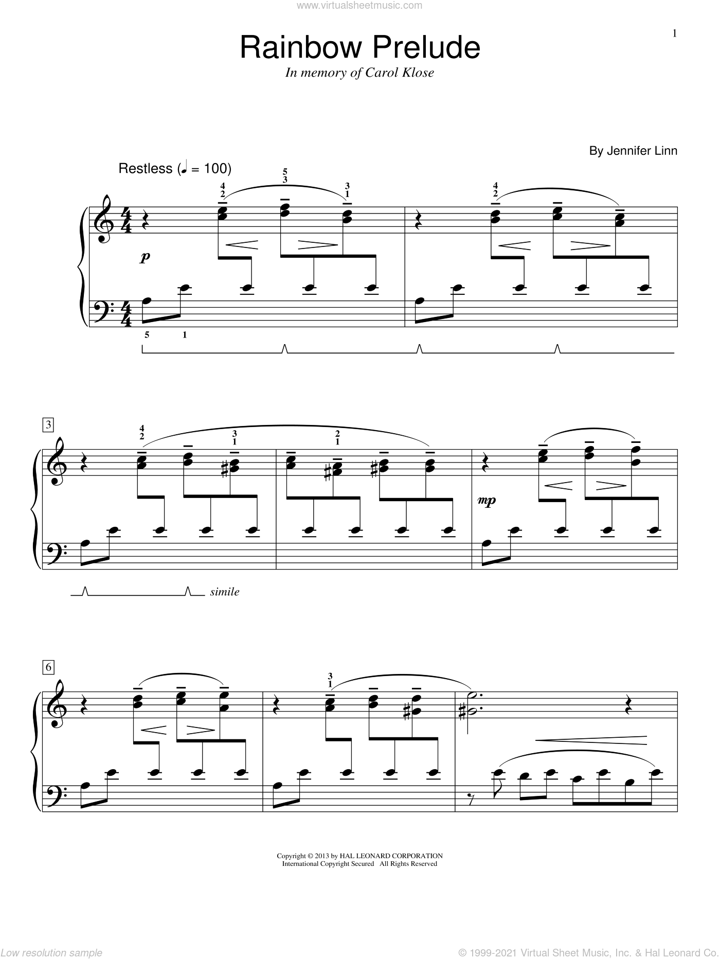 Rainbow Prelude sheet music for piano solo (elementary) by Jennifer Linn