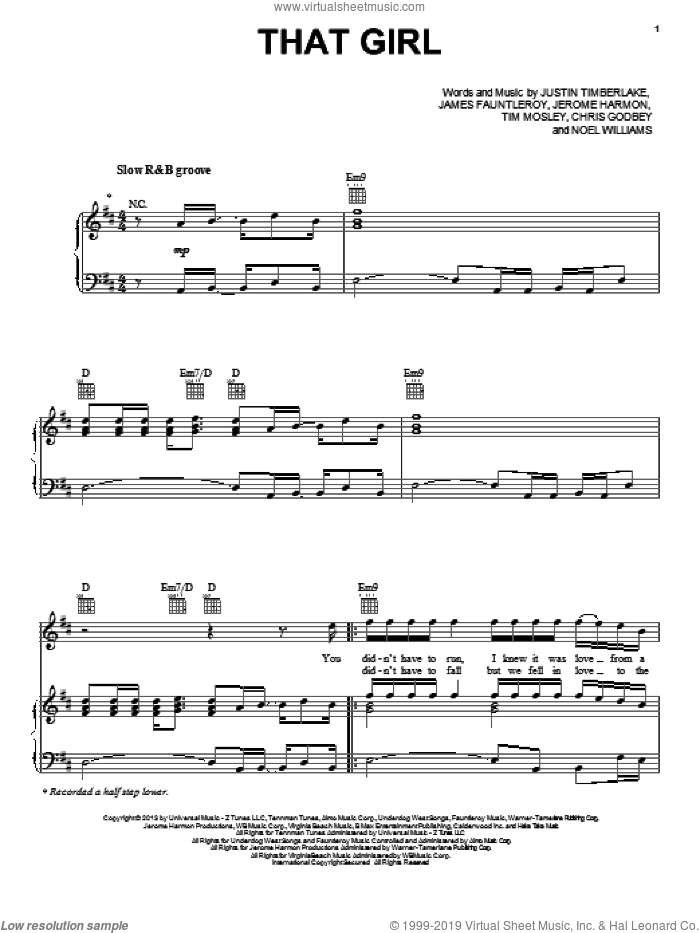 That Girl sheet music for voice, piano or guitar by Justin Timberlake. Score Image Preview.