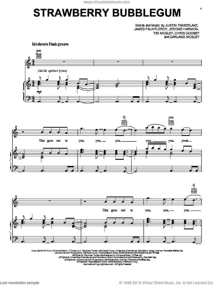 Strawberry Bubblegum sheet music for voice, piano or guitar by Justin Timberlake. Score Image Preview.