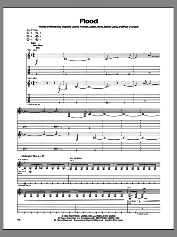 Flood sheet music for guitar (tablature) by Tool, intermediate guitar (tablature). Score Image Preview.