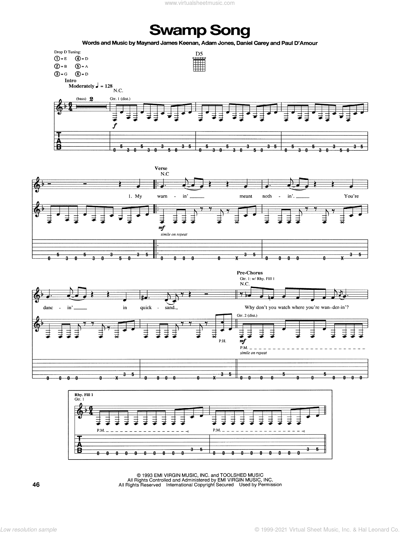 Swamp Song sheet music for guitar (tablature) by Tool. Score Image Preview.
