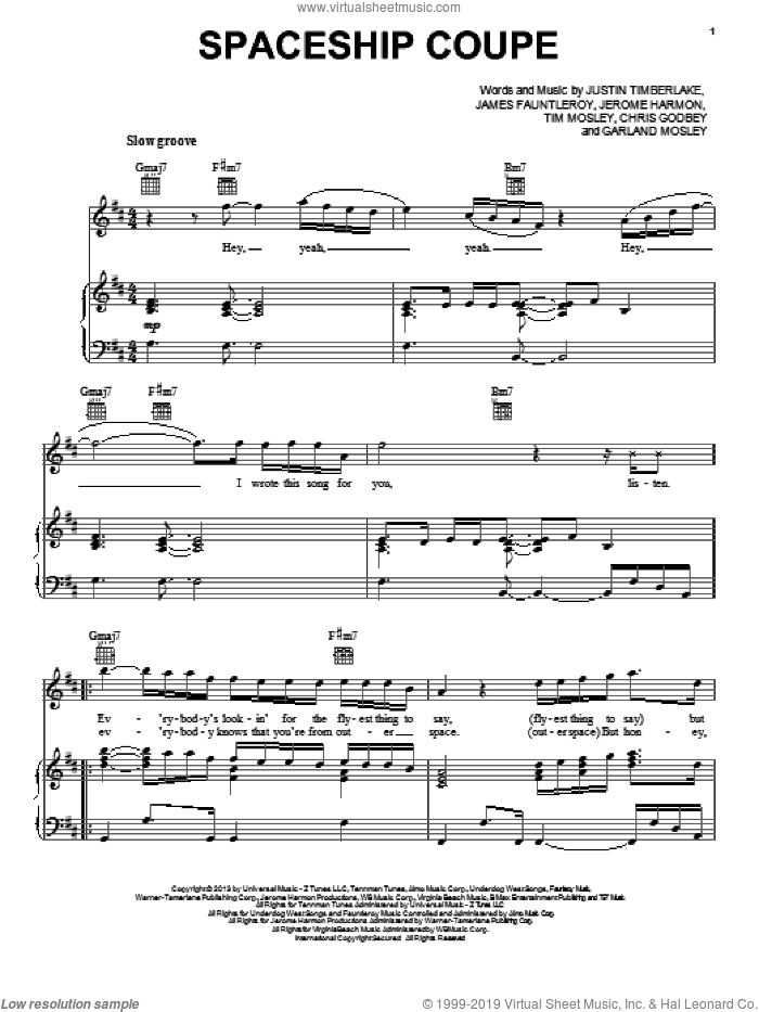 Spaceship Coupe sheet music for voice, piano or guitar by Justin Timberlake. Score Image Preview.