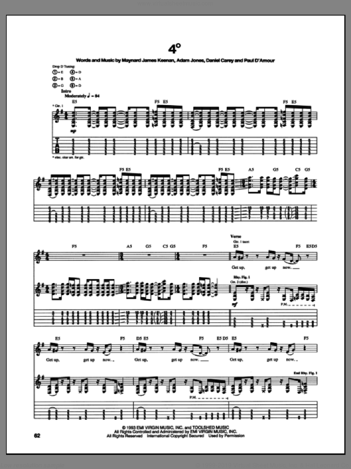 4 Degrees sheet music for guitar (tablature) by Tool, intermediate