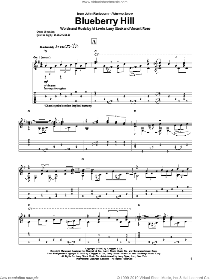 Domino Blueberry Hill Sheet Music For Guitar Solo Pdf