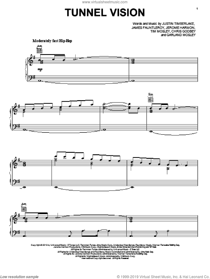 Tunnel Vision sheet music for voice, piano or guitar by Justin Timberlake, intermediate skill level