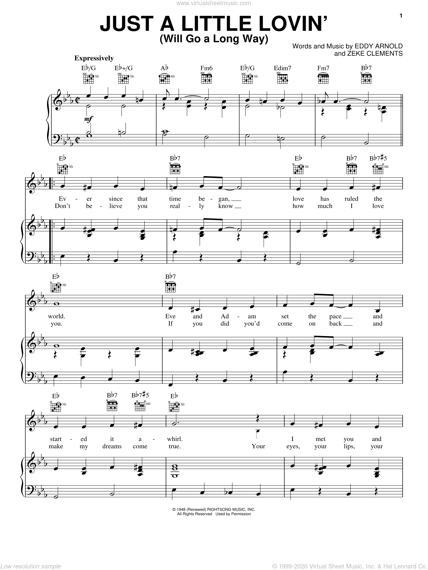 Just A Little Lovin' (Will Go A Long Way) sheet music for voice, piano or guitar by Eddy Arnold
